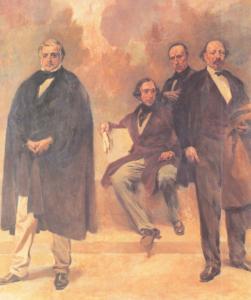 Passos Manuel, Almeida Garrett, Alexandre Herculano e José Estêvão de Magalhães nos Passos Perdidos, Assembleia da República Portuguesa.